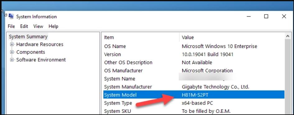 Windows motherboard serial number via Window System Information