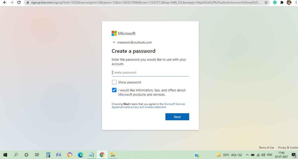 hotmail create password