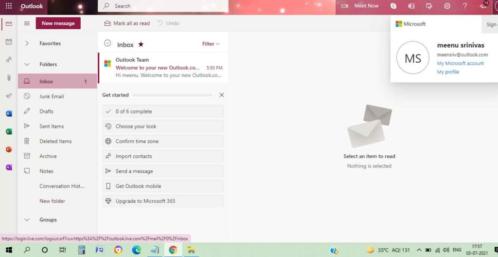 How to logout from Hotmail